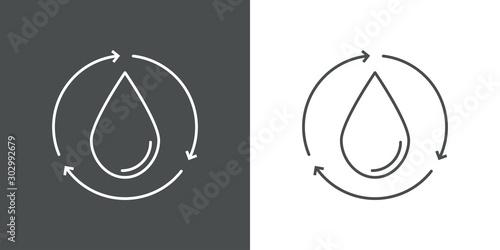 Photo Símbolo agua reciclada con icono lineal de gota con flechas girando en fondo gri