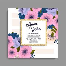 Floral Wedding Background - Purple Floral Pattern