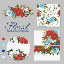 Background Flower - Red Flowers Cards, Pattern