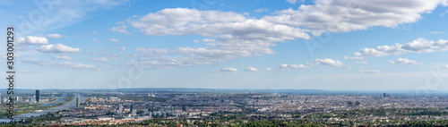 Leinwand Poster Panoramic aerial drone view of vienna city from Kahlenberg colline