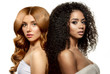 canvas print picture - Multi-ethnic beauty. Caucasian and African. Different ethnicity women on white background. Beautiful vogue girls.