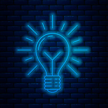 Glowing Neon Line Light Bulb With Rays Shine And Concept Of Idea Icon Isolated On Brick Wall Background. Energy And Idea Symbol. Inspiration Concept. Vector Illustration