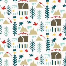 Homespun Winter Scene With Fir Tree An House Pattern. Seamless Background For Christmas Holidays Texture. Paper Cut Collage Backdrop, Isolated Vector Repeat Tile Eps 10