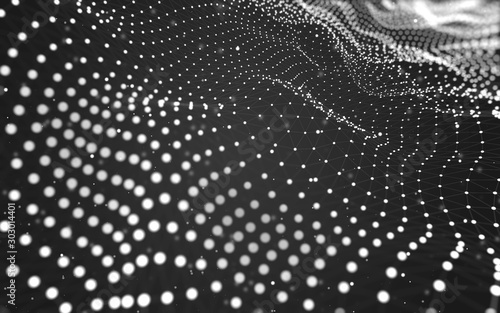 Abstract background. Molecules technology with polygonal shapes, connecting dots and lines. Connection structure. Big data visualization. - 303014401