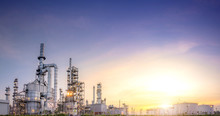 Panorama View At The Oil Refinery Located In A Large Industrial Area.