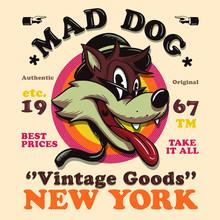 Cartoon Vintage Dog Wolf Illustration Graphic Design