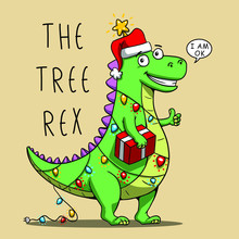 Funny T Rex New Year Tree Cartoon Graphic Design