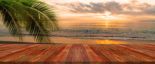 Long Wooden Table With Beach L...