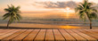 canvas print picture - long wooden table with beach landscape blur background