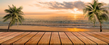 Long Wooden Table With Beach Landscape Blur Background