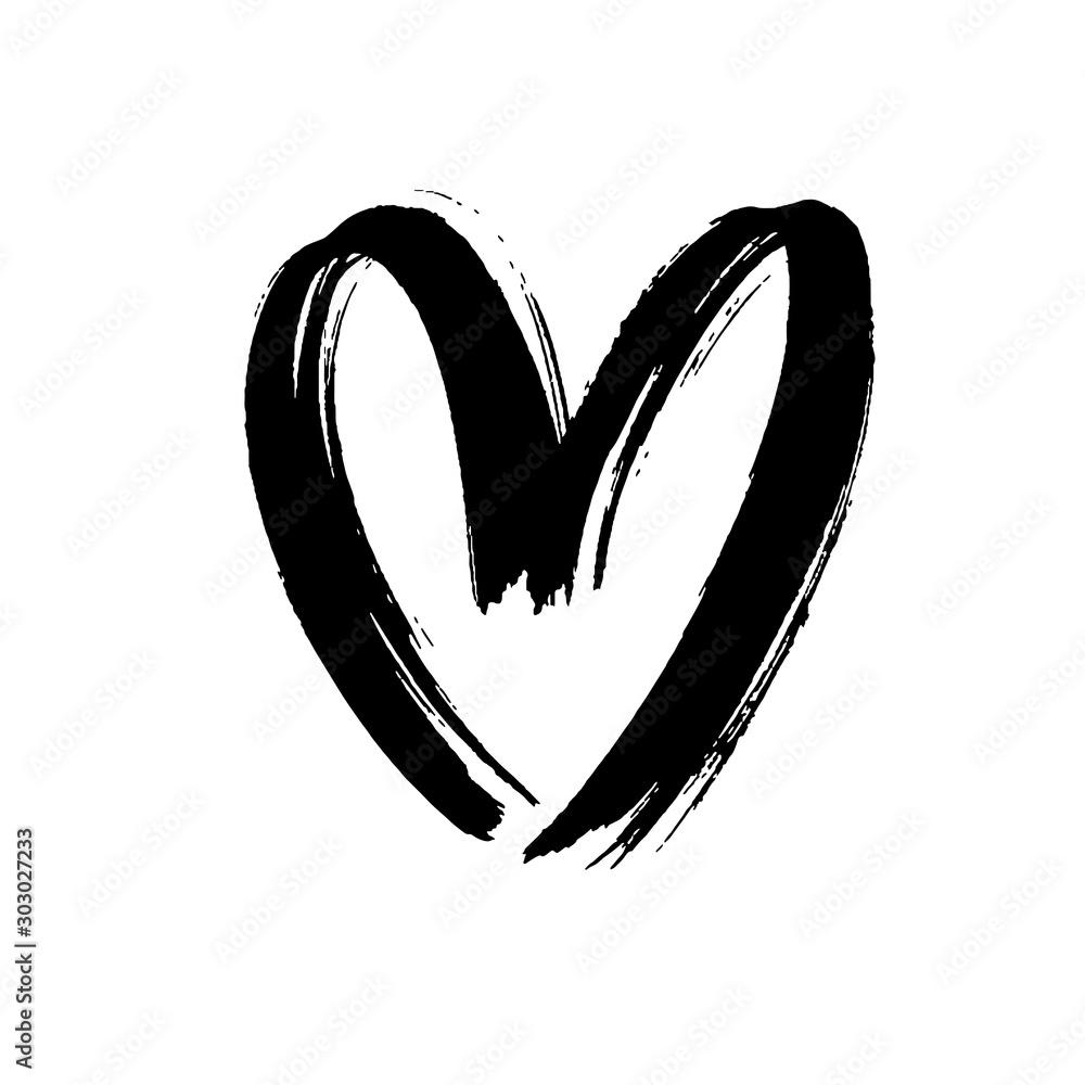 Fototapeta Black heart icon object. Hand drawn vector love symbol icon. Rough brush and marker heart.