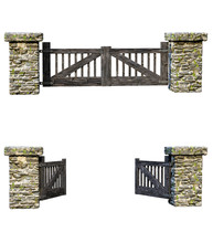 Set Wooden Farm Gate, Closed And Open, Isolated On White Background