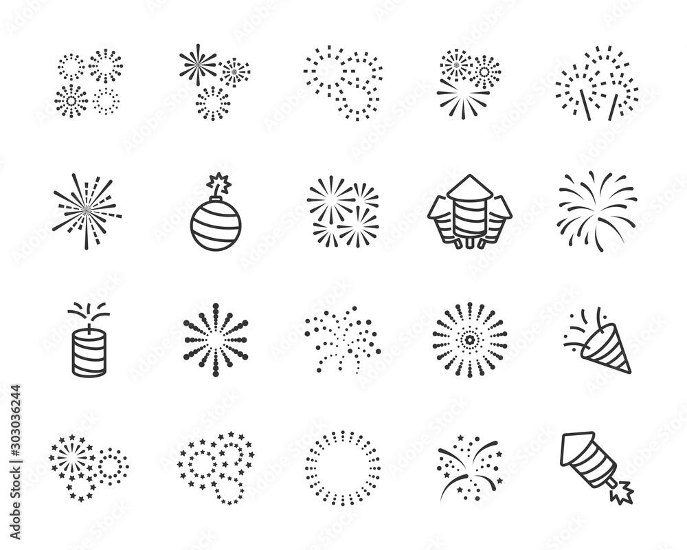 Fototapety, obrazy: set of firework icons, celebration, festival, chinese firework, Happy New Year