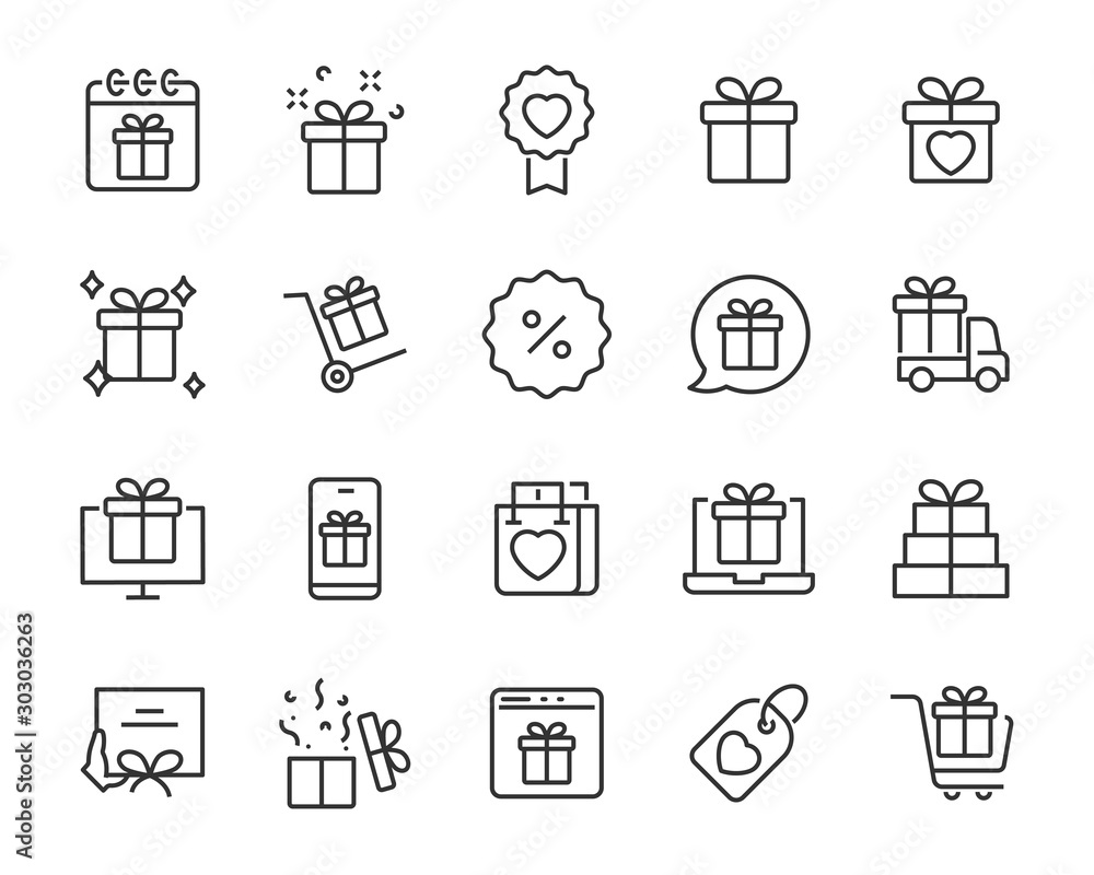 Fototapeta set of gift icons, gift box, special gift, present