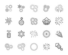 Set Of Firework Icons, Celebra...