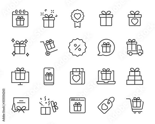 Photo set of gift icons, gift box, special gift, present