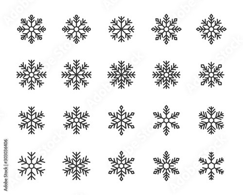 Fotografía set of snow icons, snowflake, winter, christmas, ice, cold