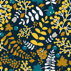 Fototapeta Las Colorful autumn bright seamless pattern with yellow and white leaves, Rowan berries on dark blue background. Hand vector illustration. Perfect for magazine covers, creating fabrics.