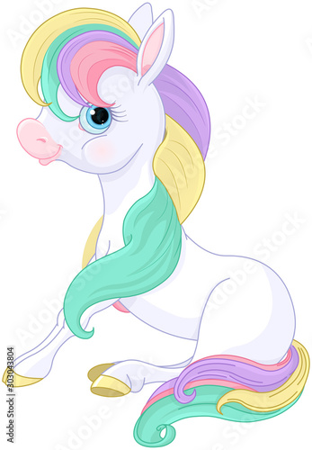 Canvas Prints Fairytale World Rainbow Pony Standing