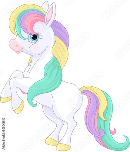 Photo sur Aluminium Magie Rainbow Pony Rearing Up
