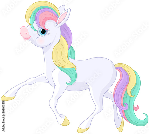 Poster de jardin Magie Rainbow Pony Walking