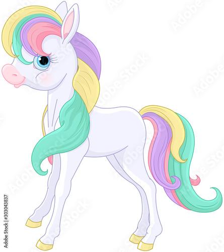Photo sur Aluminium Magie Rainbow Pony Sitting