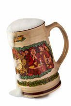 Large Ceramic Mug Of Beer With The Monks Depicted On It On White Background