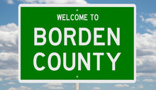 Rendering Of A Green 3d Highway Sign For Borden County
