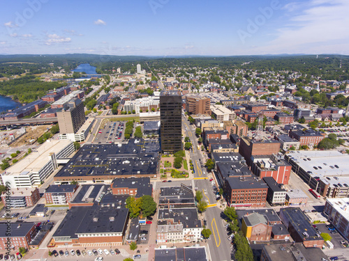 Manchester Brady Sullivan Plaza in downtown and Elm Street with Merrimack River at the background aerial view, Manchester, New Hampshire, NH, USA Canvas Print