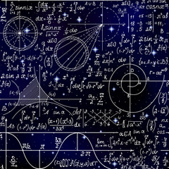 Math endless scientific seamless background with handwritten scientific formulas, figures and calculations over space stars