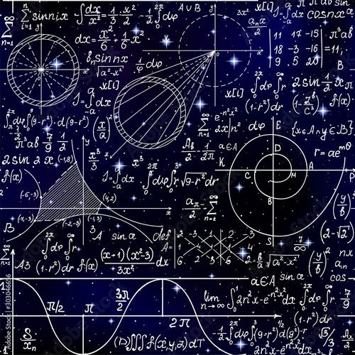 Photo Math endless scientific seamless background with handwritten scientific formulas