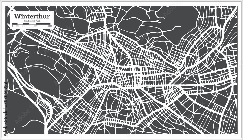 Winterthur Switzerland City Map in Retro Style. Outline Map.