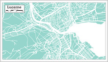 Lucerne Switzerland City Map In Retro Style. Outline Map.