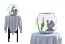 Glass Fish Bowls Isolated On White, 3d Render.