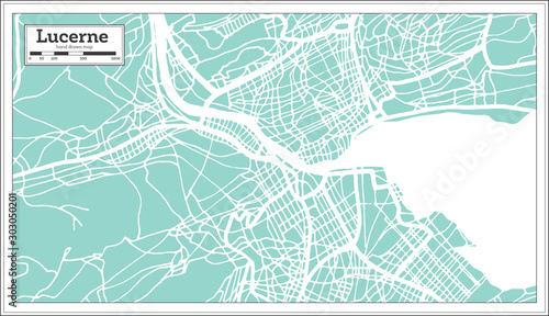 Lucerne Switzerland City Map in Retro Style. Outline Map. Fototapet