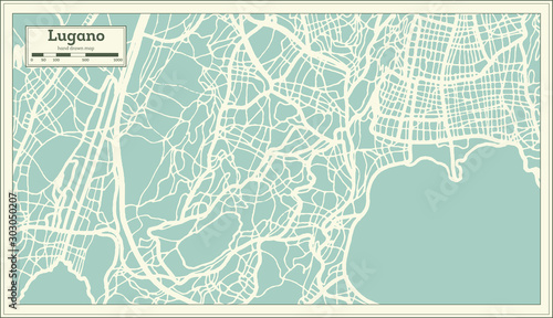 Obraz na plátně Lugano Switzerland City Map in Retro Style. Outline Map.
