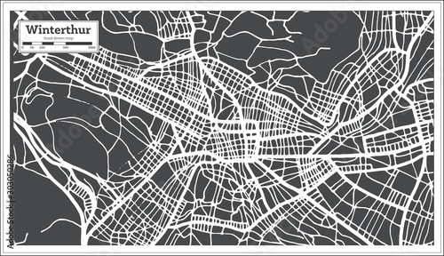 Photo Winterthur Switzerland City Map in Retro Style. Outline Map.