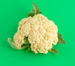 canvas print picture - Cauliflower isolated on a green background