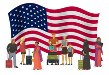 United States Of America Emigration Vector Illustration. Different Races And Nationalities People With Suitcases Go To USA. American Flag In Background.