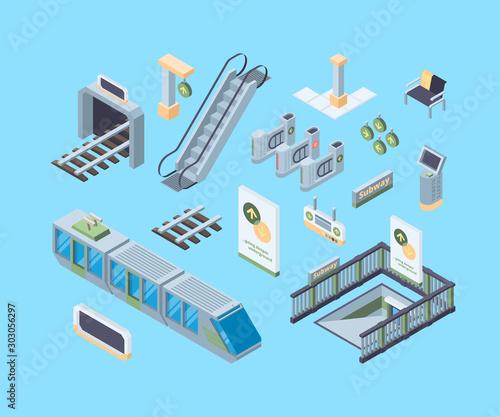 Subway design elements isometric 3D vector illustrations set