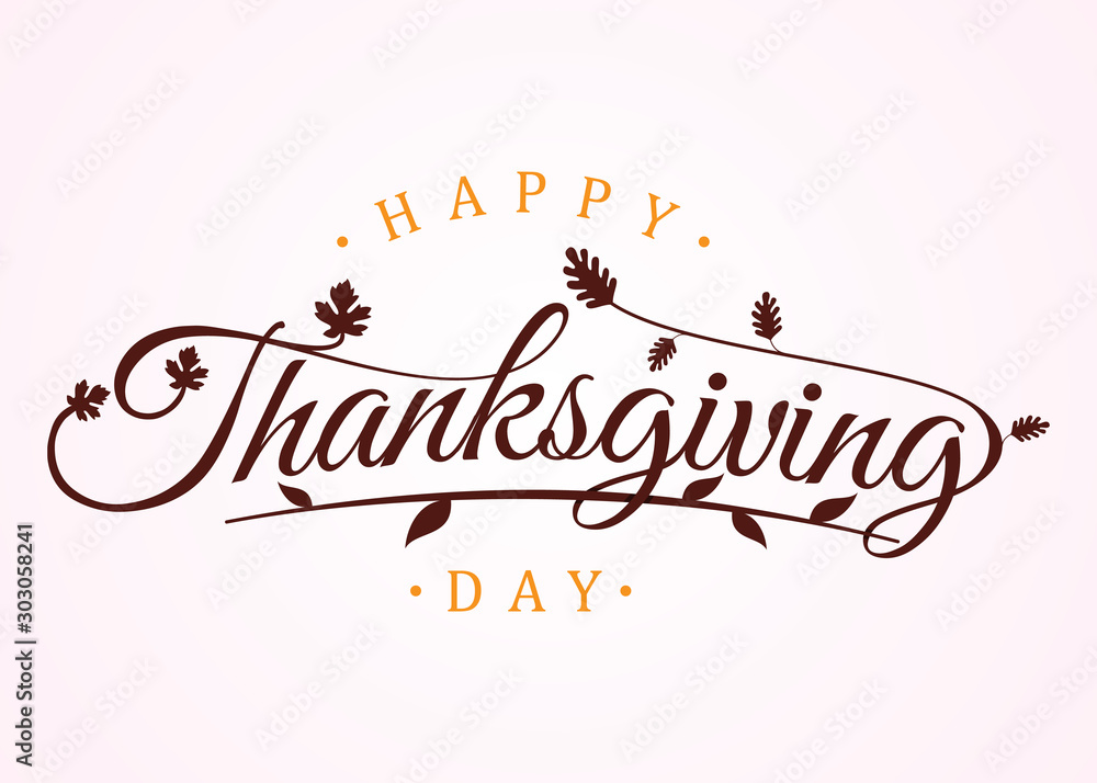 Fototapeta Happy thanksgiving day with autumn leaves. Hand drawn text lettering for Thanksgiving Day