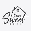Typography quote Home sweet home