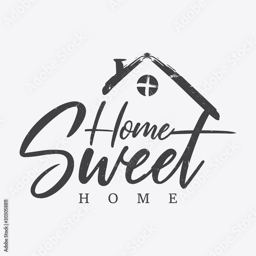 Typography quote Home sweet home Fototapete