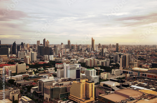Fototapety, obrazy: Bangkok capital city of Thailand with high building from top view