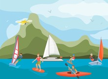 Different Ships And Vessels For Water Activity Vector Illustration. Water Sportsmen People And Kinds Of Sports Surfing, Windsurfing, Kayaking, Yachting And Wakeboarding.