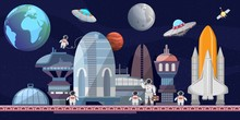Spaceport Of Future Cartoon Ve...