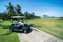 Golf Carts On A Golf Course Wi...