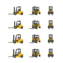 Set Of Forklift Trucks With Workers