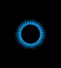 Blue Gas Flame In Burner, Vect...