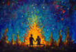 canvas print picture - Oil painting - a couple in love sitting on a bench by the night fire and looking at the night sky - romantic landscape illustration